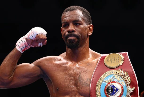 Jamel Herring of the USA celebrates victory with the WBO World Super Featherweight belt after the WBO World Super Featherweight Title Fight between...
