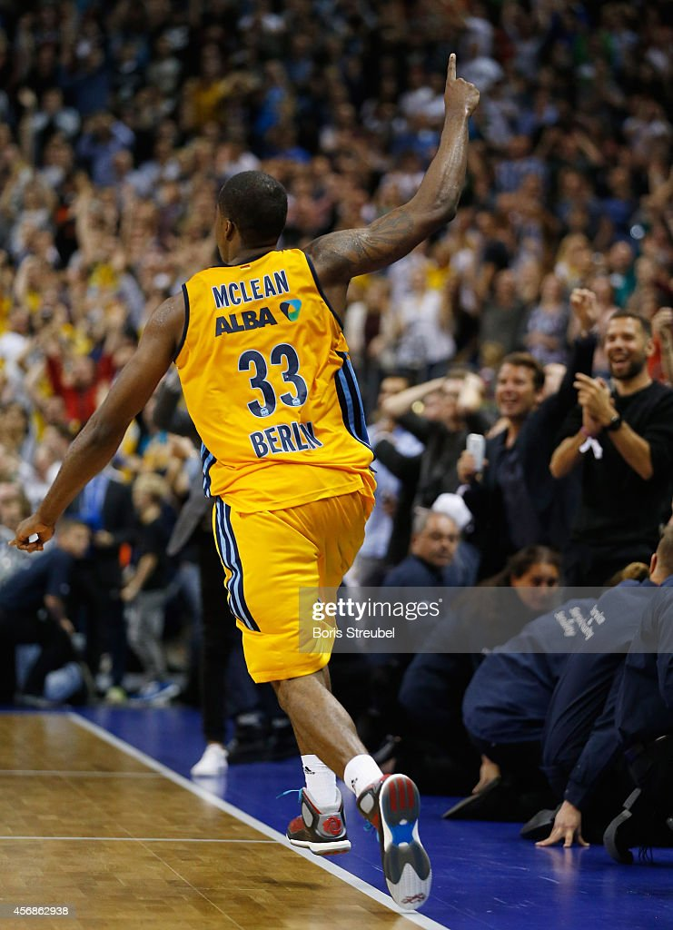 Jamel McLean of celebrates after scoring in the last second to win the NBA Global Games Tour 2014 match between Alba Berlin and San Antonio Spurs at O2 World on October 8, 2014 in Berlin, Germany.