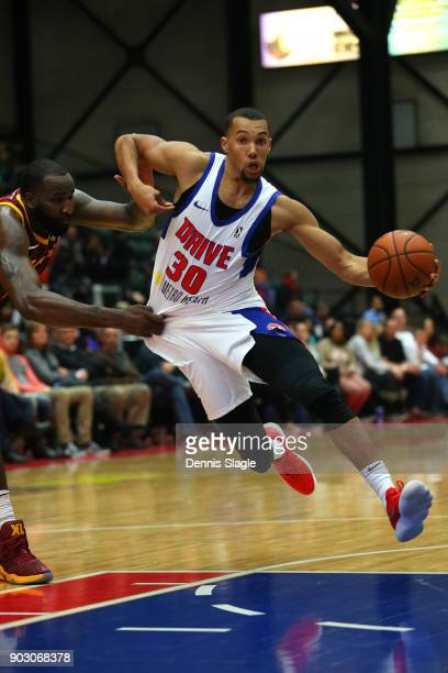 Jamel Morris of the Grand Rapids Drive drives to the basket against the Canton Charge at The DeltaPlex Arena for the NBA GLeague on JANUARY 6 2018 in...