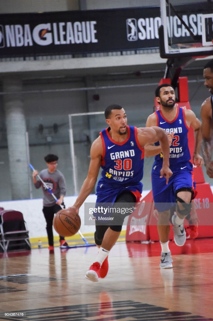 Jamel Morris #30 of the Grand Rapids Drive handles the ball against the Iowa Wolves NBA G League Showcase Game 20 between the Grand Rapids Drive and the Iowa Wolves on January 12, 2018 at the Hershey Centre in Mississauga, Ontario Canada.