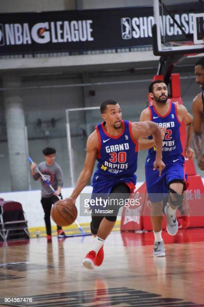 Jamel Morris of the Grand Rapids Drive handles the ball against the Iowa Wolves NBA G League Showcase Game 20 between the Grand Rapids Drive and the...