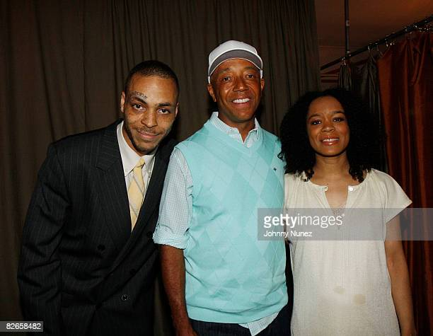 Jamel Simmons Russell Simmons and Shon Simmons attend the Lolli by Reincarnation Fashion Cocktail Presentation at 85 Stanton on September 3 2008 in...