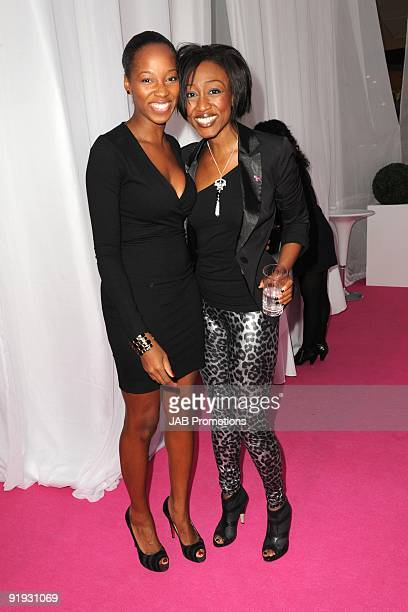 Jamelia and Beverley Knight attend the Samsung Pink Ribbon Breast Awareness Day at Westfield on October 15 2009 in London England