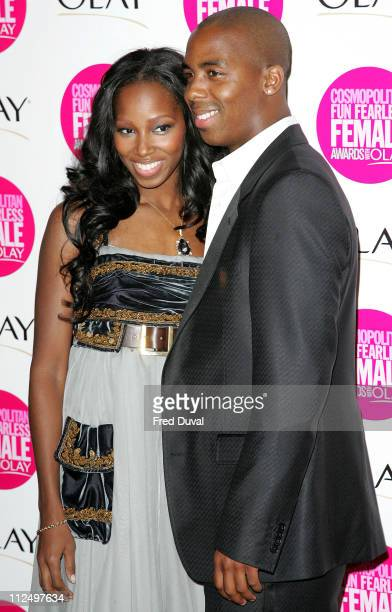 Jamelia and Darren Byfield during Cosmopolitan Fun Fearless Female Awards with Olay Red Carpet at Bloomsbury Ballroom in London Great Britain