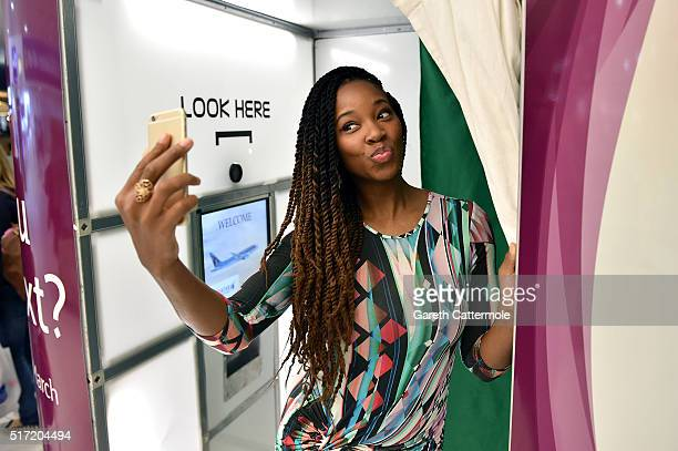 Jamelia officially opens the Qatar Airways photo booth at Birmingham Airport on March 24 2016 in Birmingham England Today Qatar Airways launch a...