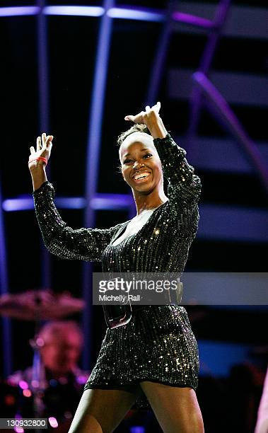 Jamelia performs live at the 46664 World AIDS Day Concert at Ellis Park on December 1 2007 in Johannesburg South Africa