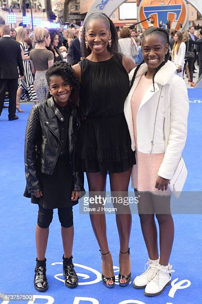 Jamelia with her daughters Tiani and Teja attend the Tomorrowland A World Beyond European premiere at Leicester Square on May 17 2015 in London...