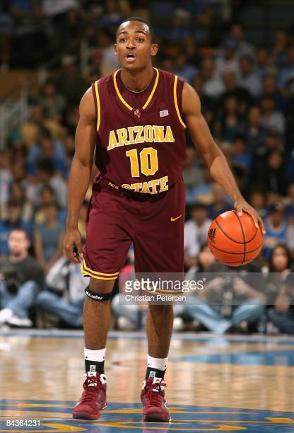 Jamelle McMillan of the Arizona State Sun Devils handles the ball during the college basketball game against the UCLA Bruins at Pauley Pavilion on...