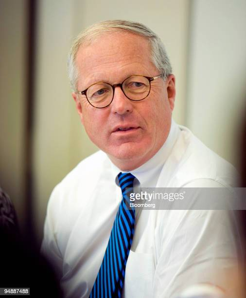 James A Johnson vice chairman of Perseus LLC and former chief executive officer of Fannie Mae speaks at an editorial meeting in Washington DC US on...