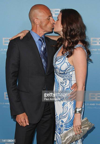 James Achor and actress Heather Tom attend The Bold And The Beautiful 25th silver anniversary party on March 10 2012 in Los Angeles California