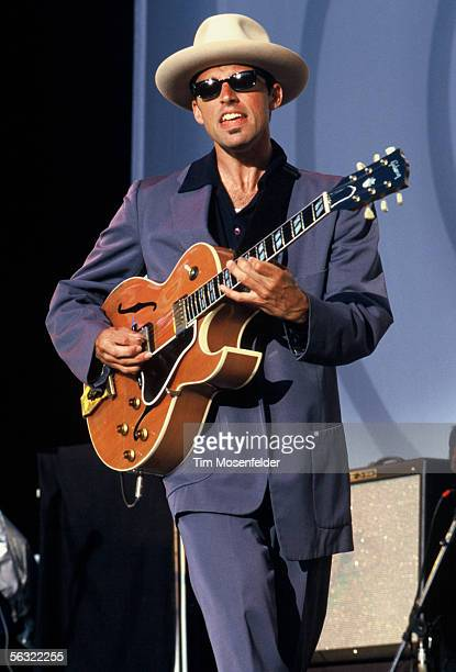 James Achor of the Royal Crown Revue performs at Shoreline Amphitheatre on August 9 1998 in Mountain View California