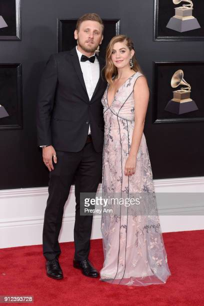 James Adam Shelley and Laura Dreyfuss attends the 60th Annual GRAMMY Awards Arrivals at Madison Square Garden on January 28 2018 in New York City