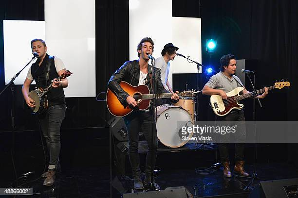 James Adam Shelley Zac Barnett Matt Sanchez and Dave Rublin of American Authors perform at Music Choice's You A at Music Choice on May 7 2014 in New...