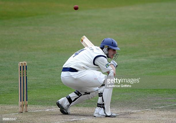 James Adams of Hampshire avoids a bouncer from Charlie Shreck of Nottinghamshire during the LV County Championship match between Nottinghamshire and...