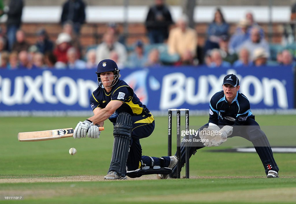 James Adams of Hampshire Royals plays a shot during the Clydesdale Bank Pro40 semi final match between Sussex and Hampshire at the Probiz County Ground on September 1, 2012 in Hove, England.