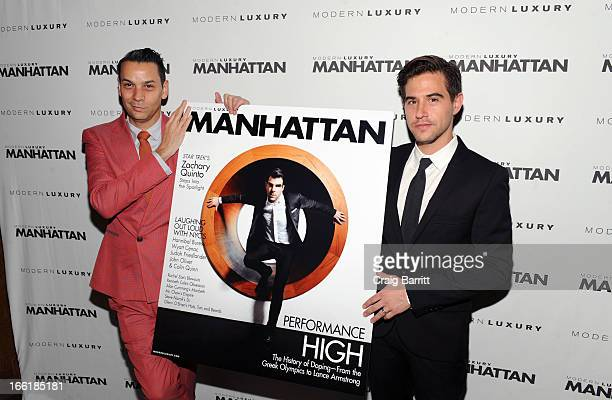James Aguiar and David Needleman attend Manhattan Magazine Men's Issue party hosted By Zach Quinto on April 9 2013 in New York United States
