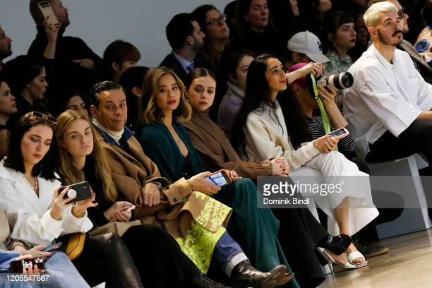 James Aguiar, Jamie Chung, Bel Powley and Raveena Aurora attend the Noon By Noor Front Row during New York Fashion Week: The Shows at Gallery II at...