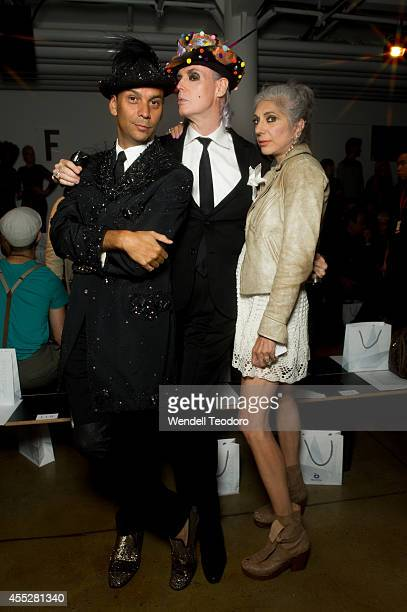 James Aguiar Patrick McDonald and Lauren Ezersky attends The Blonds during MADE Fashion Week Spring 2015 at Milk Studios on September 10 2014 in New...