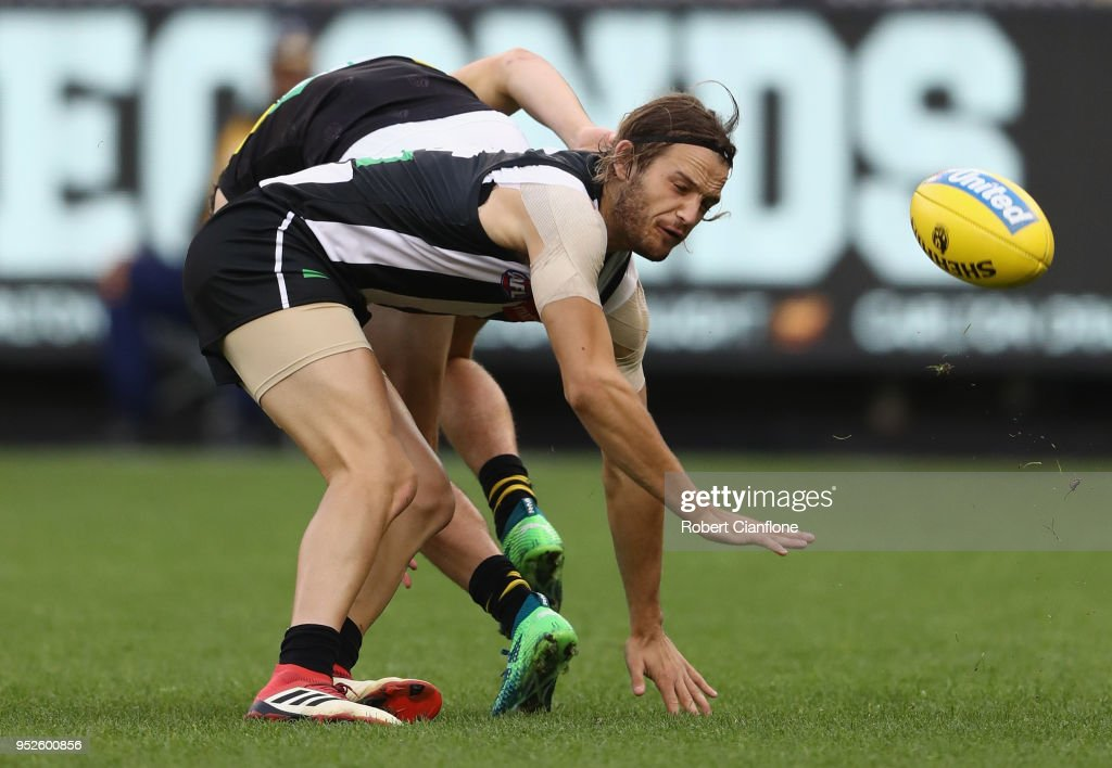 James Aish of the Magpies is injured during the AFL round six match between the Collingwood Magpies and Richmond Tigers at Melbourne Cricket Ground on April 29, 2018 in Melbourne, Australia.