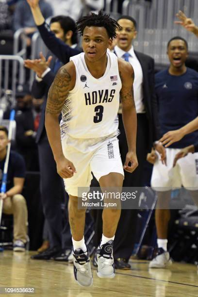 James Akinjo of the Georgetown Hoyas celebrates a shot during a college basketball game against the Providence Friars at the Capital One Arena on...