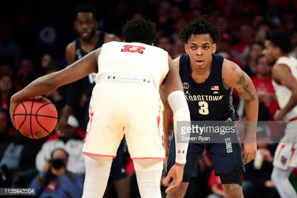 James Akinjo of the Georgetown Hoyas defends against the St John's Red Storm at Madison Square Garden on January 27 2019 in New York City