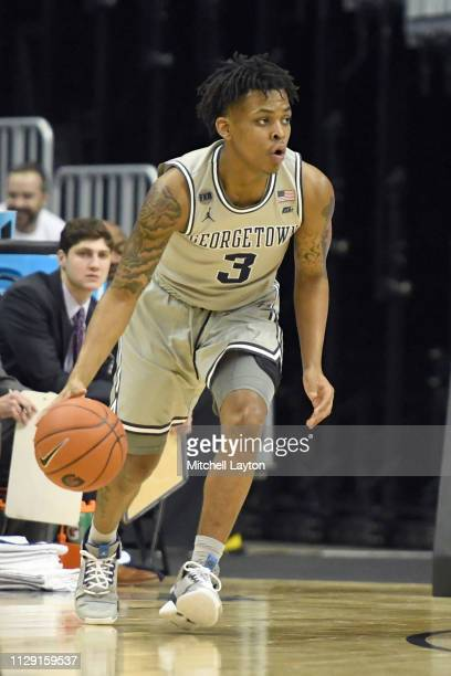 James Akinjo of the Georgetown Hoyas dribbles the ball during a college basketball game against the Butler Bulldogs at the Capital One Arena on...