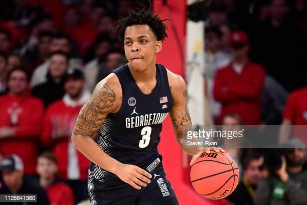 James Akinjo of the Georgetown Hoyas handles the ball on offense against the St John's Red Storm at Madison Square Garden on January 27 2019 in New...