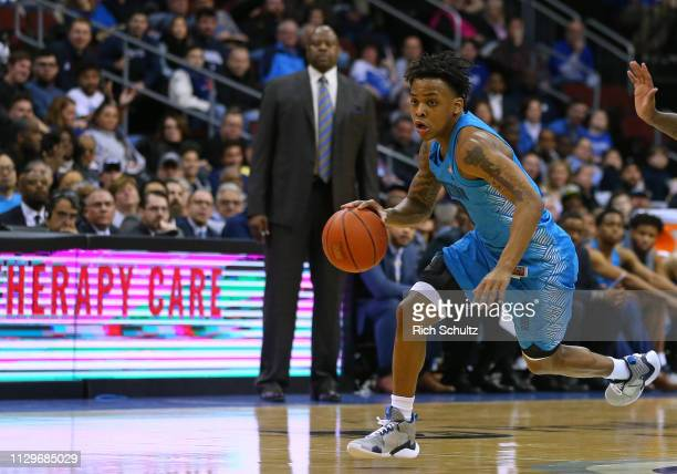 James Akinjo of the Georgetown Hoyas in action against the Seton Hall Pirates during a game at Prudential Center on February 13 2019 in Newark New...