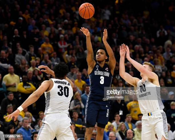 James Akinjo of the Georgetown Hoyas shoots against the Marquette Golden Eagles at Fiserv Forum on March 09 2019 in Milwaukee Wisconsin