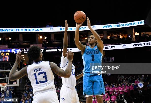 James Akinjo of the Georgetown Hoyas shoots the ball against the Seton Hall Pirates at Prudential Center on February 13 2019 in Newark New Jersey