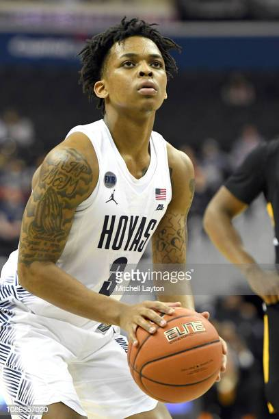 James Akinjo of the Georgetown Hoyas takes a foul shot during a college basketball game against the Appalachian State Mountaineers at the Capital One...
