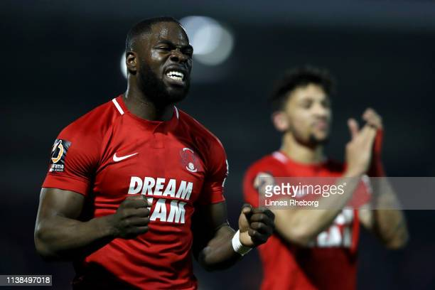 James Alabi of Leyton Orient and Macauley Bonne of Leyton Orient celebrates following their side's victory in the Vanarama National League match...
