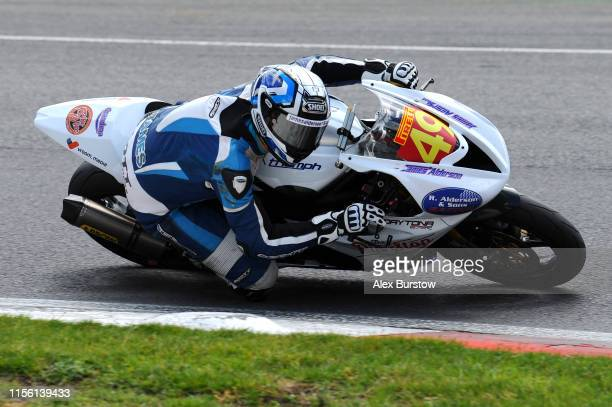 James Alderson of Great Britain in action during the Pirelli National Superstock 600 Qualifying race at Brands Hatch on June 15, 2019 in Longfield,...