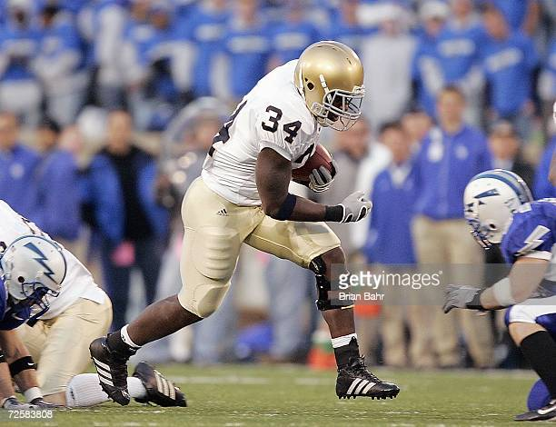 James Aldridge of the Notre Dame Fighting Irish carries the ball during the game against the Air Force Falcons on November 11 2006 at Falcon Stadium...