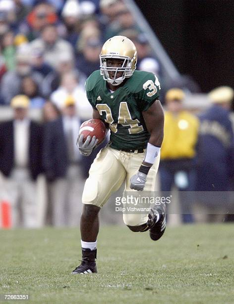 James Aldridge of the Notre Dame Fighting Irish carries the ball against the Army Black Knights at Notre Dame Stadium on November 18 2006 in South...