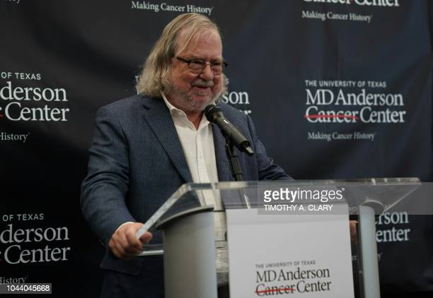 James Allison currently at the MD Anderson Cancer Center at the University of Texas holds a press conference in New York October 1 2018 after winning...