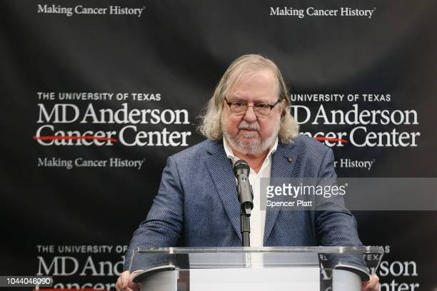 James Allison of the University of Texas Austin speaks at a news conference after learning that he has received the Nobel Prize in medicine with...