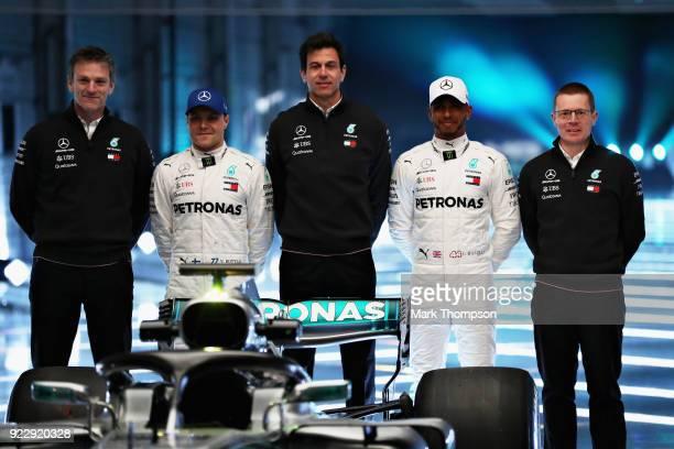 James Allison Technical Director at Mercedes GP Valtteri Bottas of Finland and Mercedes GP Mercedes GP Executive Director Toto Wolff Lewis Hamilton...