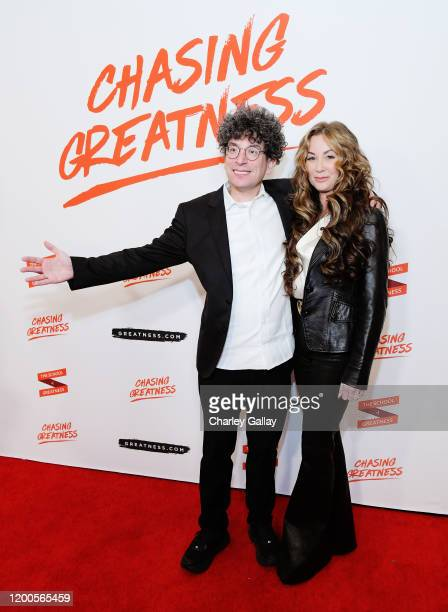 James Altucher and Robyn Altucher and attends Lewis Howes Documentary Live Premiere Chasing Greatness at Pacific Theatres at The Grove on February 12...
