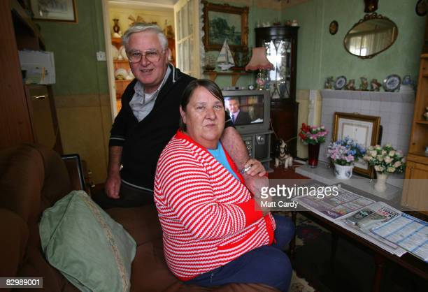 James and Christine Gallagher pose inside their prefab house in Catford on September 24 2008 in London England The couple who turned down a new house...