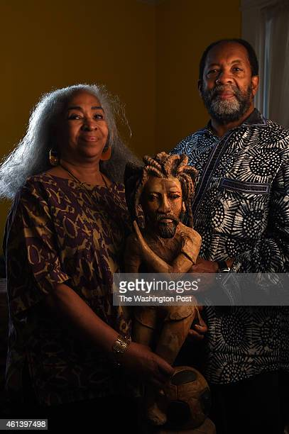 James and Miriam Early both 67 years old hold a sculpture which they bought while on vacation in Jamaica with their two sons 30 years ago at their...