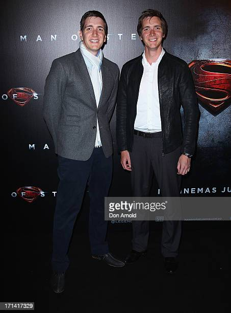 James and Oliver Phelps attend the Man Of Steel Australian Premiere at Event Cinemas George Street on June 24 2013 in Sydney Australia