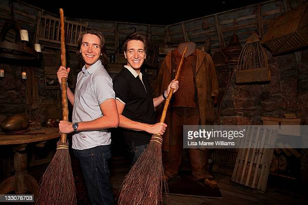James and Oliver Phelps from the Harry Potter movies pose during a media preview of the Harry Potter The Exhibition at the Powerhouse Museum on...