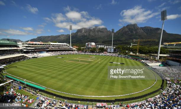 James Anderon of England bowls the first over of the South Africa innings during Day Two of the Second Test between England and South Africa on...