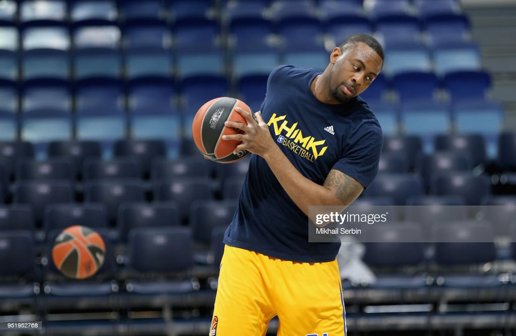 James Anderson, #21 of Khimki Moscow Region before the Turkish Airlines Euroleague Play Offs Game 4 between Khimki Moscow Region v CSKA Moscow at Arena Mytishchi on April 27, 2018 in Moscow, Russia.