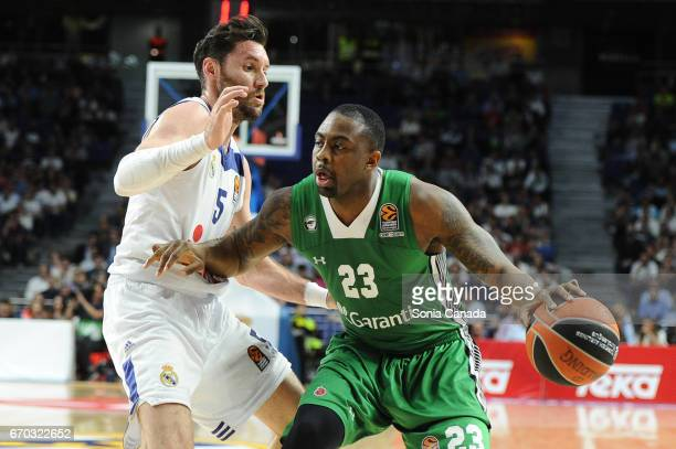 James Anderson #23 forward of Darussafaka Dogus Istanbul and Rudy Fernandez #5 guard of Real Madrid during the 2016/2017 Turkish Airlines Euroleague...
