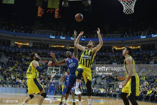 James Anderson #23 of Anadolu Efes Istanbul in action with Nicolo Melli #4 of Fenerbahce Beko Istanbul during the 2018/2019 Turkish Airlines...