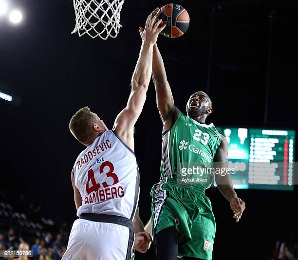 James Anderson, #23 of Darussafaka Dogus Istanbul competes with Leon Radosevic, #43 of Brose Bamberg during the 2016/2017 Turkish Airlines EuroLeague...