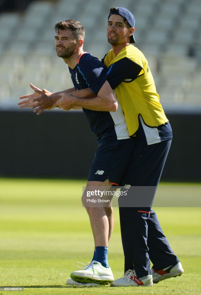 James Anderson and Alastair Cook of England play around during a training session before the 1st Investec Test match between England and the West Indies at Edgbaston cricket ground on August 16, 2017 in Birmingham, England.