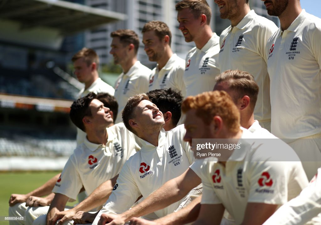 James Anderson and Joe Root of England look on during a team photo before an England nets session at the WACA on November 1, 2017 in Perth, Australia.